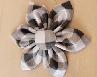 Buffalo Dog Collar flower, plaid, Vintage Dog Collar Flower, flower for dog collar attachment,