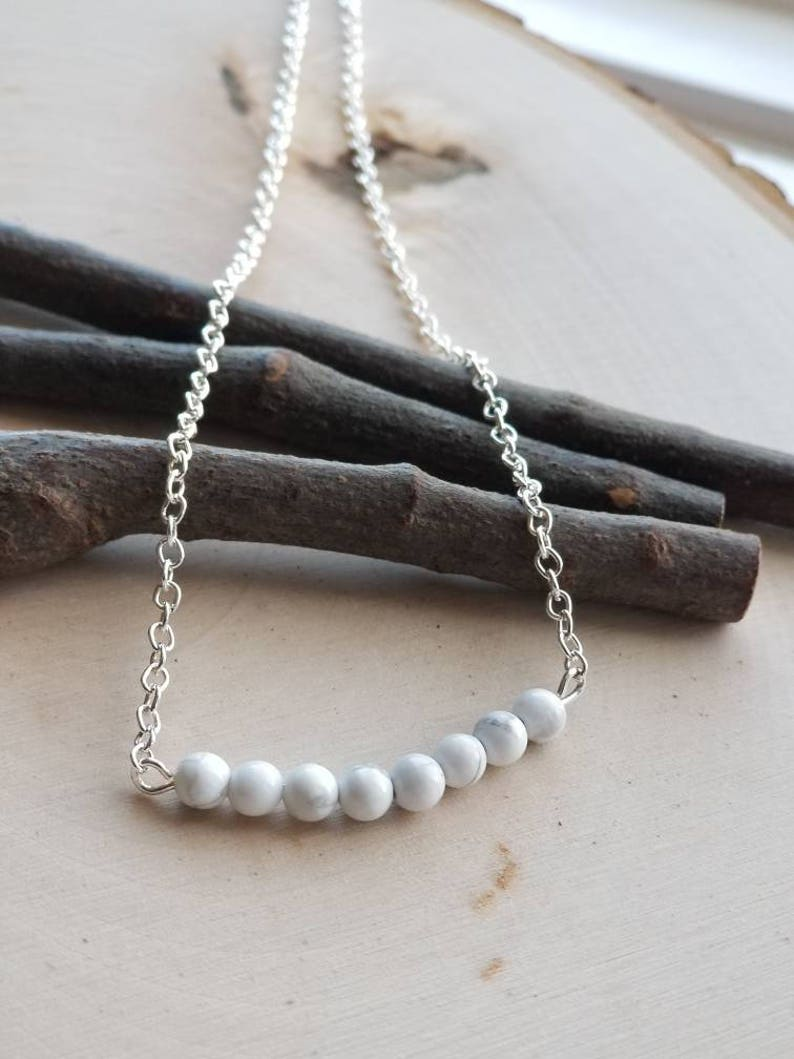 Howlite bar necklace white howlite beaded bar bead bar image 0