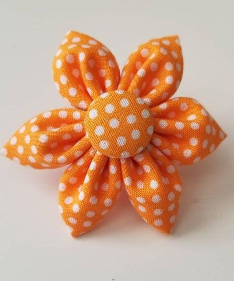 Orange polka dot Dog Collar flower floral Vintage Dog Collar image 1