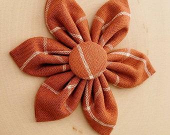 Fall Orange Plaid Collar Flower
