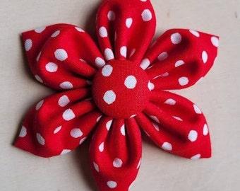 Red polka dot Dog Collar flower, floral, Vintage Dog Collar Flower, flower for dog collar attachment,