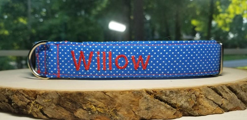 Blue Polka Dot collar Custom Dog collar Holiday dog collar image 0
