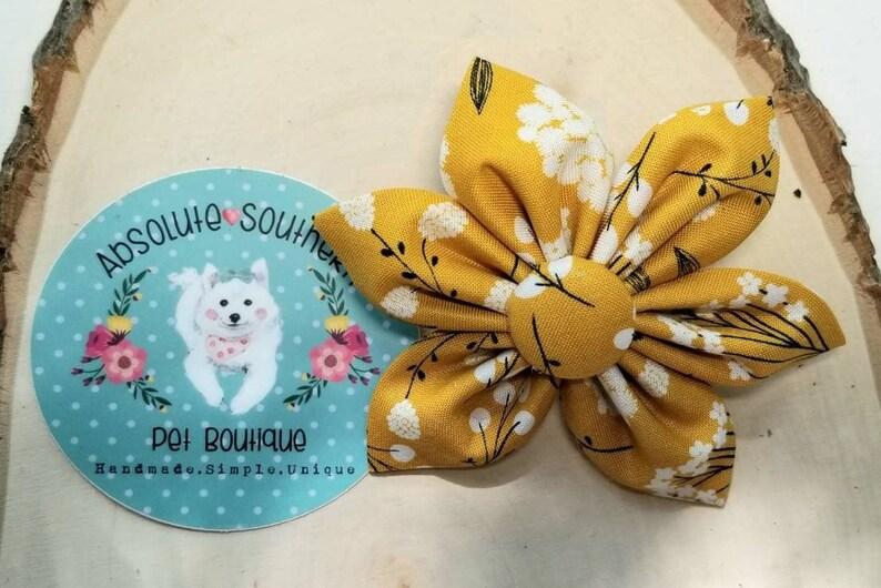 Yellow floral Vintage Dog Collar Flower flower for dog image 0