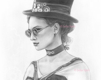Coloring Page, Digital stamp, Digi, Girl, Realistic Portrait, Fantasy, Steampunk, Hat, Grayscale. Lucy