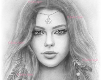Coloring Page, Digital stamp, Digi, Girl, Realistic Portrait, Fantasy, Boho, Feathers, Grayscale. Onalee