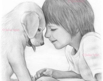 Coloring Page, Digital stamp, Digi, Little Boy, Realistic Portrait, Dogs, Pet, Grayscale. Dog lover