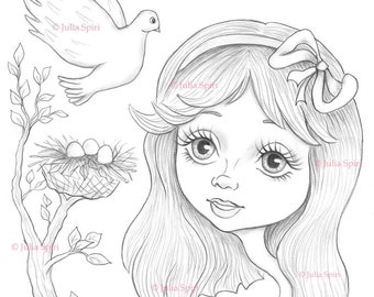 Coloring Page, Digital stamp, Digi, Alice in Wonderland, Whimsy, Line art. Alice and Pigeon