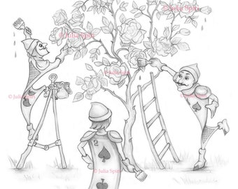 Coloring Page, Digital stamp, Digi, Alice in Wonderland, Whimsy, Line art. Gardeners painting rose-tree