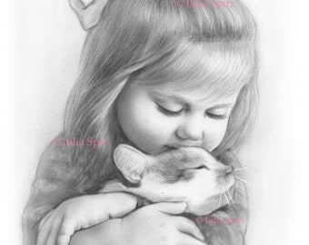 Coloring Page, Digital stamp, Digi, Little Cute Girl, Realistic Portrait, Cat, Grayscale. Tenderness