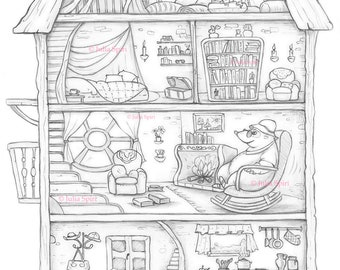 Coloring Page, Digital stamp, Digi, Home, Mouse, kitchen, bedroom, loft, library, Whimsy, Line art. Mole house
