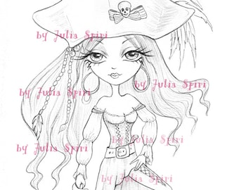 Pirates Digital Stamp, Girl Pirate stamps, Treasure, Skull, Coloring page, Adventure, Line art. The  Pirates Collection. Georgie Pirate