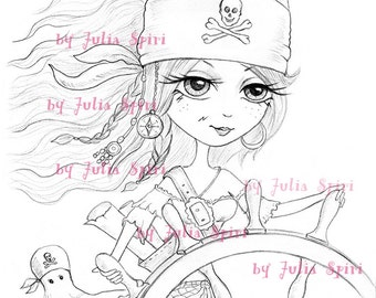 Pirates Digital Stamp, Girl Pirate stamps, Treasure, Helm, Skull, Coloring page, Adventure Octopus. The  Pirates Collection. Scarlett Pirate