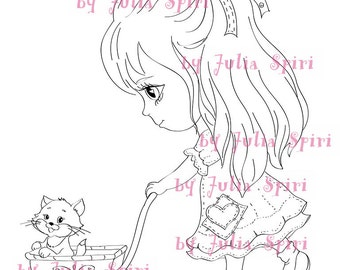 Digi Stamps, Scrapbooking printable, Digital stamp, Girl stamps, Cat stamps, Coloring pages, Doll stamps, Line art. Mollie
