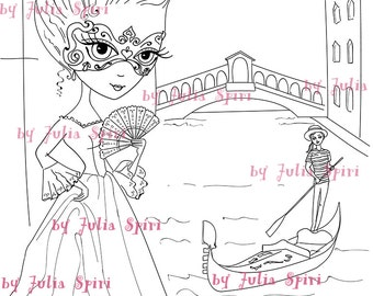 Digital Stamps Digi Stamp Coloring Pages Girl Venice Mask Love Romantic Fantasy The Collection