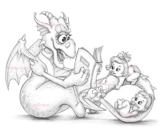 Coloring Page, Digital stamp, Digi, Babies, Girl, Boy, Toddlers, Reader, Whimsy, Line art. Nanny dragon