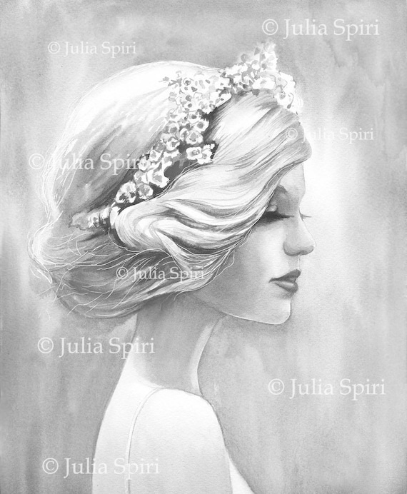 Grayscale Coloring Pages Digital Stamp Digi Portrait Girl Fantasy The Inspiration