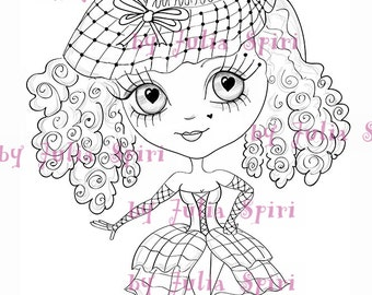 Instant Download Digital Stamps, Big Eye, Digi stamp, Scrapbooking printable, Doll stamps, Coloring pages, Line art. Chic girl