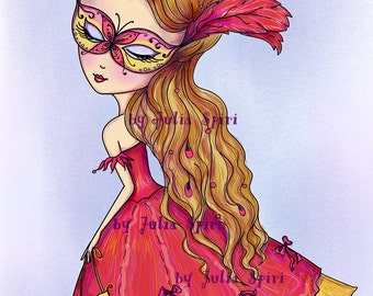 Digital Stamps, Digi stamp, Coloring pages, Girl stamp, Venice stamp, Mask stamp Romantic Fantasy. The Venice Collection. Venetian Butterfly