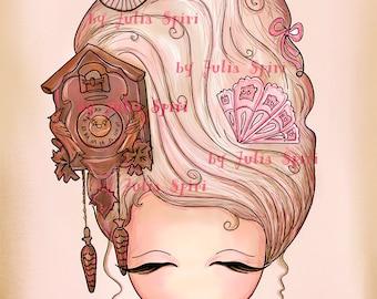 Digital Stamps, Digi stamp, Coloring pages, Vintage, Hair stamps, Fantasy, Scrapbooking printable. The Fantasy Hair Collection. Vintage Hair