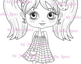 Digital Stamps INSTANT DOWNLOAD, Digi stamp, Children's stamps, Coloring Pages, Big Eyes, Stamping printable, Doll stamp. Girl with pigtails