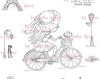 Digital Stamp + bonus elements for cut,  Paris stamps, Parisian girl in bike, Parisian elements, Eiffel Tower. The Paris Collection. Paris.