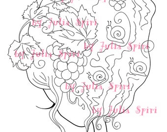 Digital Stamps, Digi stamp, Coloring pages, Grapes, Hair stamp, Fantasy Scrapbooking printable. The Fantasy Hair Collection. Grapes and Hair