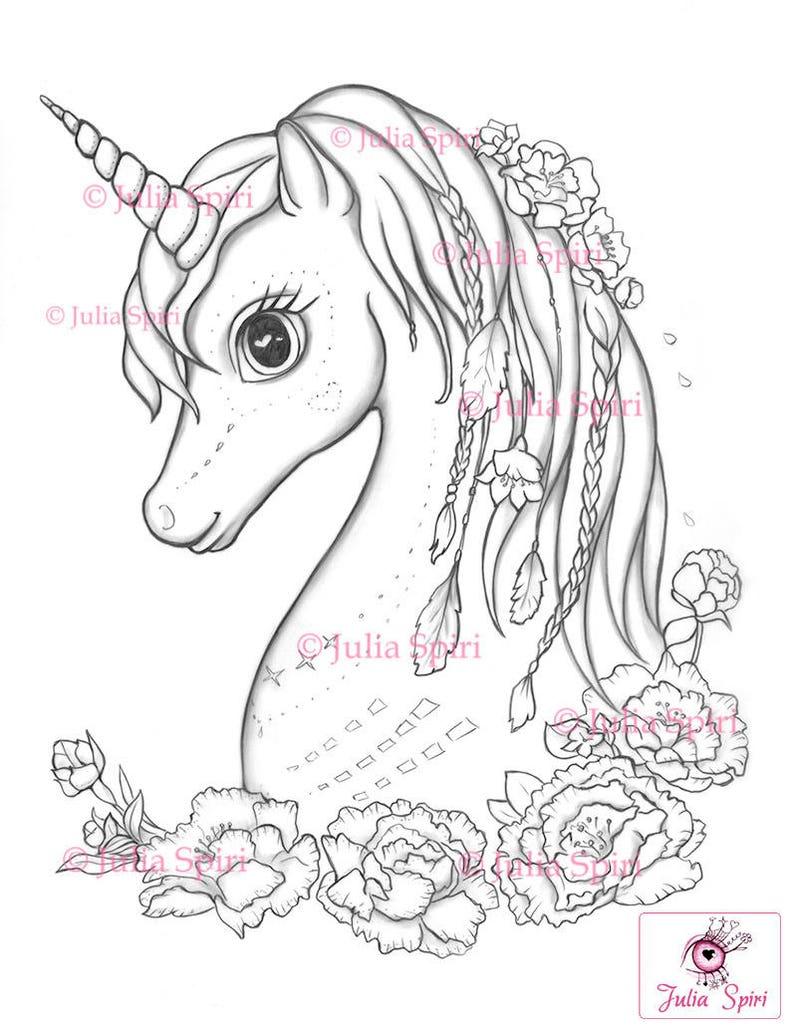 Kleurplaten Unicorn.Kleurplaten Digitale Stempel Digi Unicorn Boho Bloemen Etsy