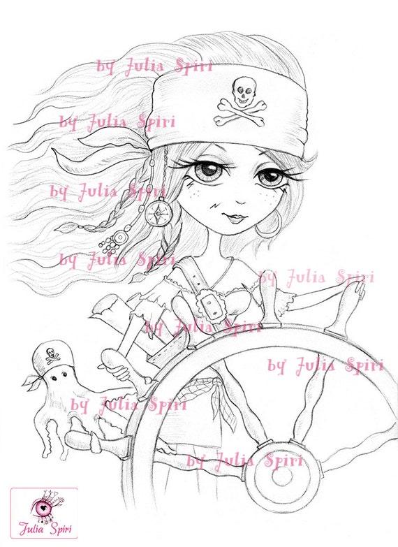 Pirates Digital Stamp Girl Pirate Stamps Treasure Helm