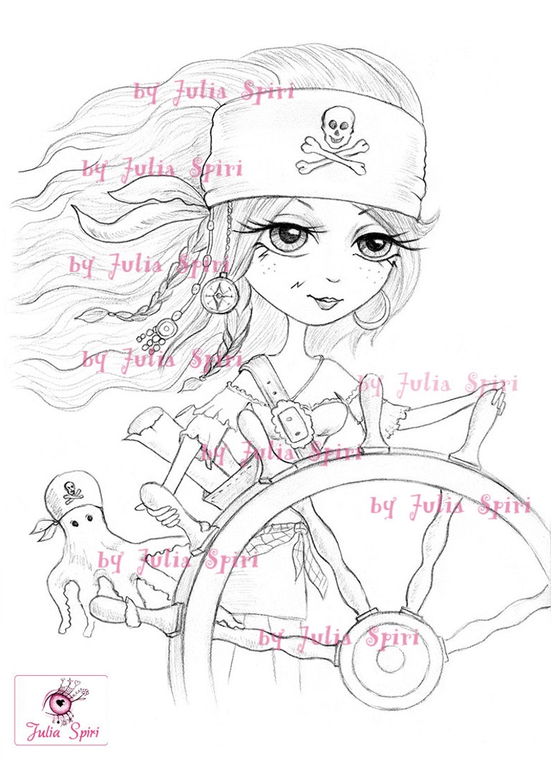 Pirate At The Helm Coloring Page