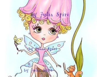 Digital Stamps, Digi stamp, Coloring pages, Fairy stamps, Scrapbooking printable. The Forest Dwellers Collection. Forest hairdressing