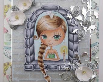 INSTANT DOWNLOAD Digital Digi Stamps, Princess stamps, Digital stamp, Scrapbooking printable, Coloring pages, Line art. Princess in Castle