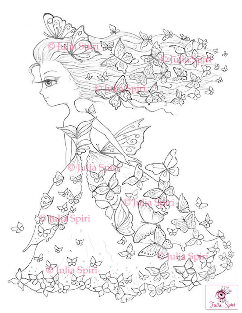 Kleurplaten Kleine Vlinders.Kleurplaten Digitale Stempel Digi Meisje Vlinder Fantasy Etsy