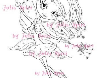 Digital Stamps, Digi stamp, Coloring pages, Digital doll, Winter, Fairy stamps, Fantasy, Scrapbooking. The Winter Collection. The Snow Fairy