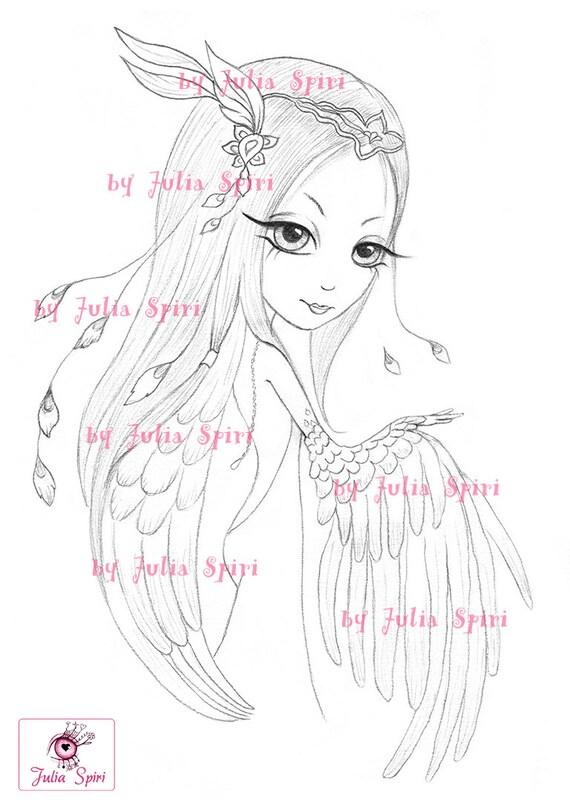 Digital Stamps Angel Digi Fantasy Angels Mask Wings Big Eyes Cute Coloring Pages Paper Crafting Cardmaking Ofelia Angel