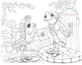 Coloring Page, Digital stamp, Digi, Alice in Wonderland, Whimsy, Line art. The Fish-Footman and the Frog-Footman