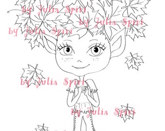 Digital Stamps, Digi stamp, Coloring pages, Autumn stamp Elf stamps, Fantasy, Scrapbooking. The Forest Dwellers Collection. Autumn Elf