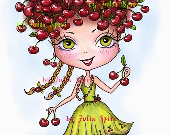Digital Stamps, Digi stamp, Coloring pages, Digital doll, Fruity, Cherry, Fantasy Scrapbooking. The Fruity Girls Collection. The Cherry Girl