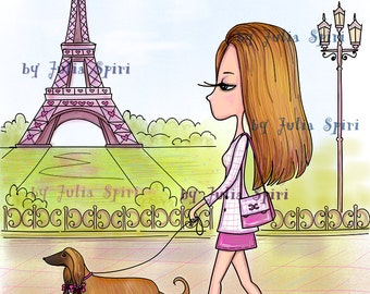 Digital Stamps, Digi Stamp, Coloring, Parer crafting, Paris stamps, Parisian Girl, Dog stamps. Tha Paris Collection. Promenade in Paris