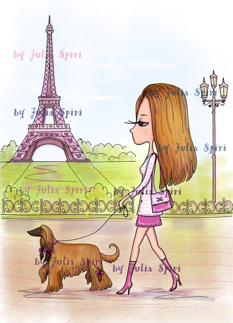 Dog stamps Digital Stamps Paris stamps Coloring Parisian Girl Promenade in Paris Digi Stamp Tha Paris Collection Parer crafting