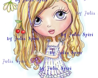 Digi Stamps, Scrapbooking printable, Digital stamp, Girl stamps, Coloring pages, Doll stamps, Line art. Girl with hair wrap