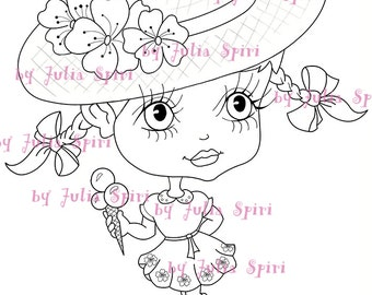 INSTANT DOWNLOAD Digital Digi Stamps,  Doll Stamps, Coloring Pages, Clip art, Printable Downloads, Line art. Girl with Ice cream