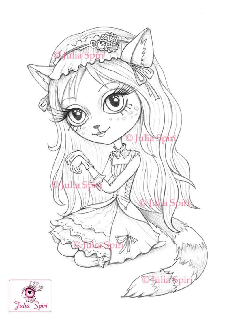Coloring Pages Digital stamp Digi Cat Girl Steampunk image 1