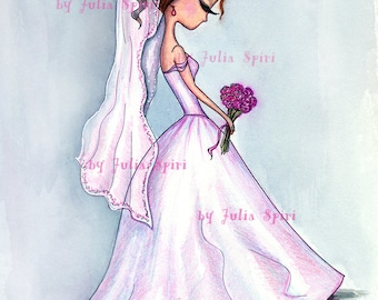Digital Stamps, Digi stamp, Wedding stamp, Coloring, Bride, Bridal bouquet, Wedding dress, Romantic, The  Wedding Collection. Wedding Day
