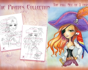 Pirates Digital Stamps, Set of 3 Digital Stamps, Girl Pirate stamps, Parrot, Treasure, Charlotte Georgie, Scarlett. The  Pirates Collection.