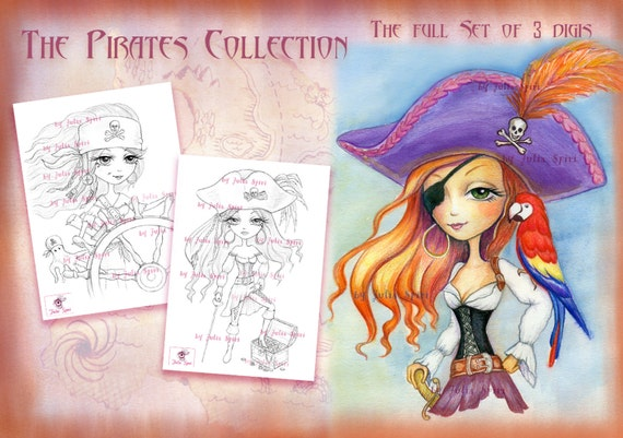 Pirates Digital Stamps Set Of 3 Girl Pirate