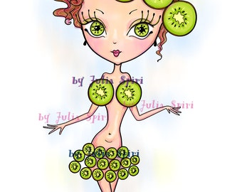 Digital Stamps, Digi stamp, Coloring pages, Girl stamps, Fruity, Kiwi, Fantasy, Scrapbooking. The Fruity Girls Collection. The Kiwi Girl