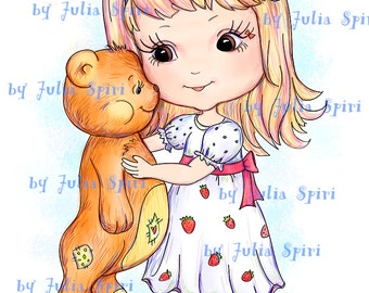 INSTANT DOWNLOAD Digital Stamps Digi Stamps Coloring Pages, Clip art, Teddy stamps, Printable Downloads, Line art. Girl with Teddy