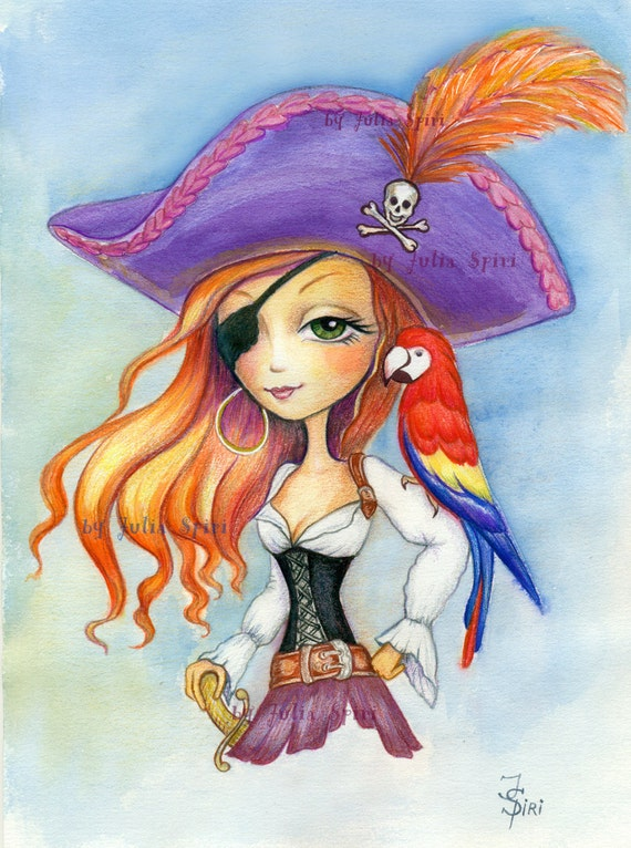 Pirates Digital Stamp Girl Pirate Stamps Parrot Treasure