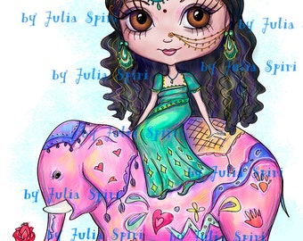 Digital Digi Stamps, Scrapbooking printable, Girl stamps, Coloring pages, Line art. Indian Girl on an Elephant