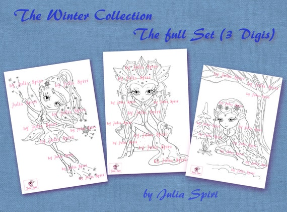 3 Digitale Marken Ausmalbilder Fantasy Winter Briefmarken Etsy